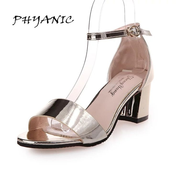 17.68$  Buy now - http://alipy1.shopchina.info/go.php?t=32795129253 - PHYANIC Fashion Women Metal Colors Thick High Heel Sandals Ankle Strap Gold Silver Dress Shoes Woman Summer Buckle Office Shoes  #magazineonlinebeautiful