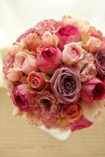 『【ブライダル】ロマンティックなピンクブーケ』 http://ameblo.jp/flower-note/entry-11331666303.html