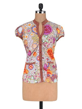 Buy Vastra Vinod Grey Cotton Floral Print Kurta Online, , LimeRoad