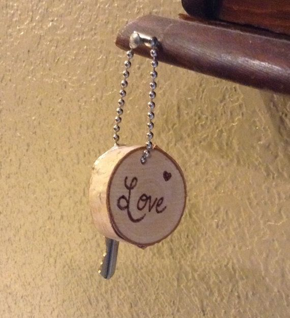 Wood slice keychain with love wood burned in the by ScratchandBurn