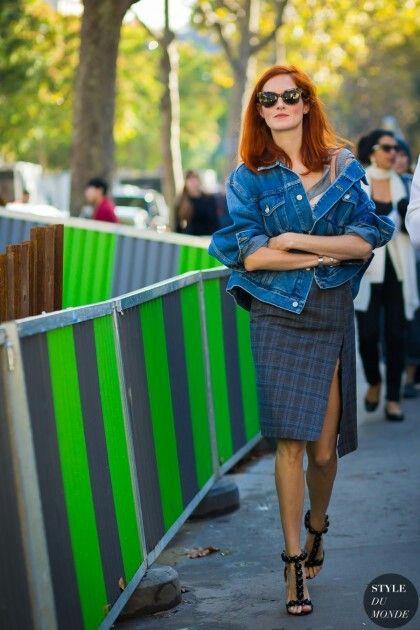 denim jacket + checked slit skirt /Taylor Tomasi Hill