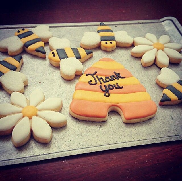 """Bee themed """"thank you"""" decorated cookies"""