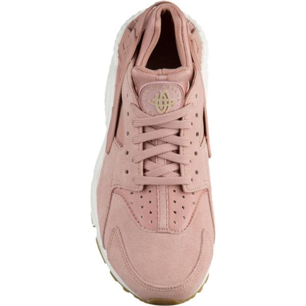 Nike Air Huarache - Women's - Casual Running Sneakers - Casual -... ❤ liked on Polyvore featuring shoes, sneakers, suede sneakers, pink shoes, brown colour shoes, nike trainers and brown suede sneakers