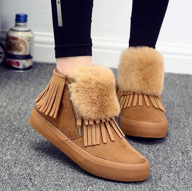 Womens Fur Tassels Round Toe Platform Snow Riding Ankle Boots Korean Youth A511