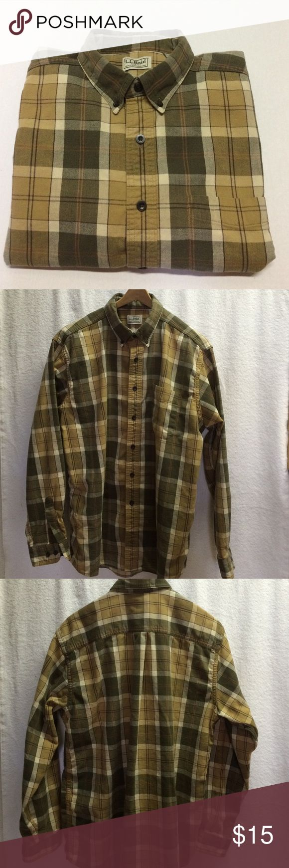 LL Bean - Men's Plaid Flannel, EUC This LL Bean Men's Plaid Flannel is in great used condition. Warm shades of tan and green are great for fall. Size large.  Button down collar. L.L. Bean Shirts Casual Button Down Shirts