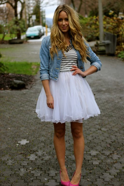 a fashion love affair: jean jacket, striped top, white frilly skirt, pink heels. boho hair. love the eclectic look!