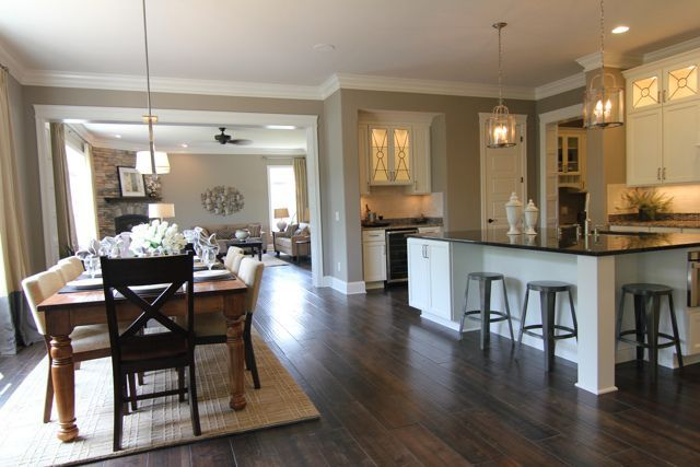 Open kitchen into living room concepts for Open kitchen dining room floor plans