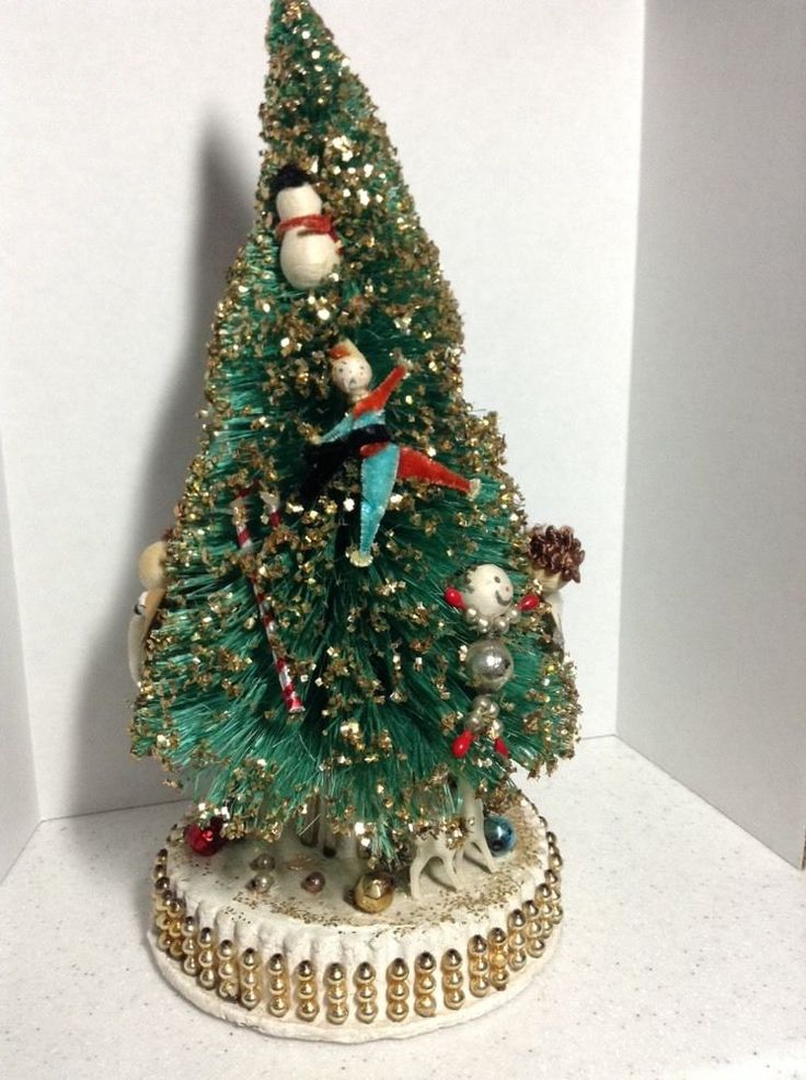 Vintage Bottle Brush Christmas Tree Ornately Decorated