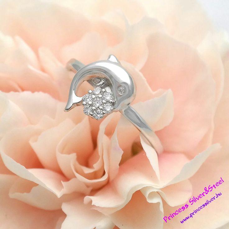 Delfines, kristályos virág, ezüst gyűrű. Részletek bővebben: www.princessilver.hu
