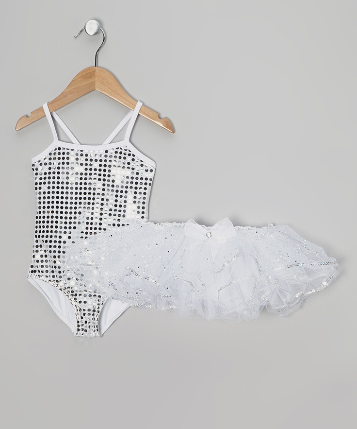 White Sequin Leotard & Tutu - Toddler | Daily deals for moms, babies and kids