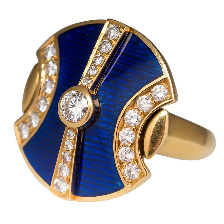 De Vroomen Guilloche Enamel Diamond Gold Ring | See more rare vintage Cocktail Rings at http://www.1stdibs.com/jewelry/rings/cocktail-rings