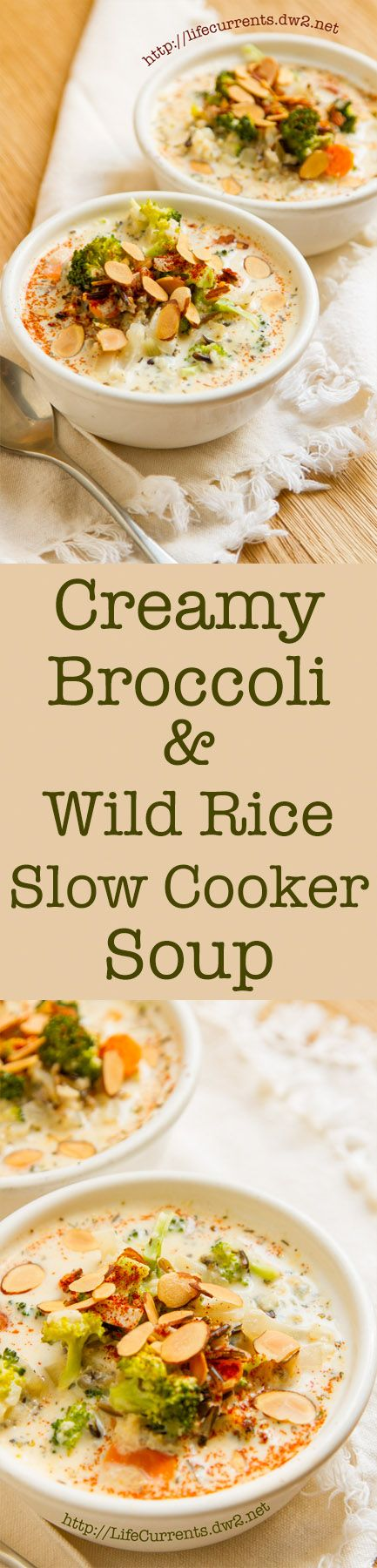 Creamy Broccoli and Wild Rice Slow Cooker Soup is a great warming soup that's filled with veggies and whole grain goodness!
