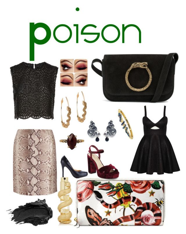"""""""Snake lady"""" by yami-ii ❤ liked on Polyvore featuring Gucci, Costarellos, Imagine by Vince Camuto, Rare London, Yves Saint Laurent, Betsey Johnson, Bling Jewelry, Tory Burch, Chan Luu and Kilian"""