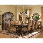 AICO Furniture - Windsor Court 9 Piece Rectangular Dining Table Set in Vintage Fruitwood - 70002T-54-9SET