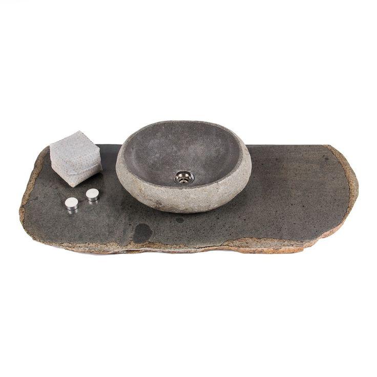 Naturstein Waschbecken Waschtischplatte natur ca. 102-107*44-47*3 cm | eBay