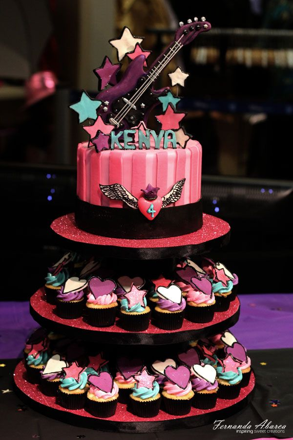 Rock Star Birthday Cake - So I want to give Xander's birthday cake out of cupcakes. This one is great except not in pink.