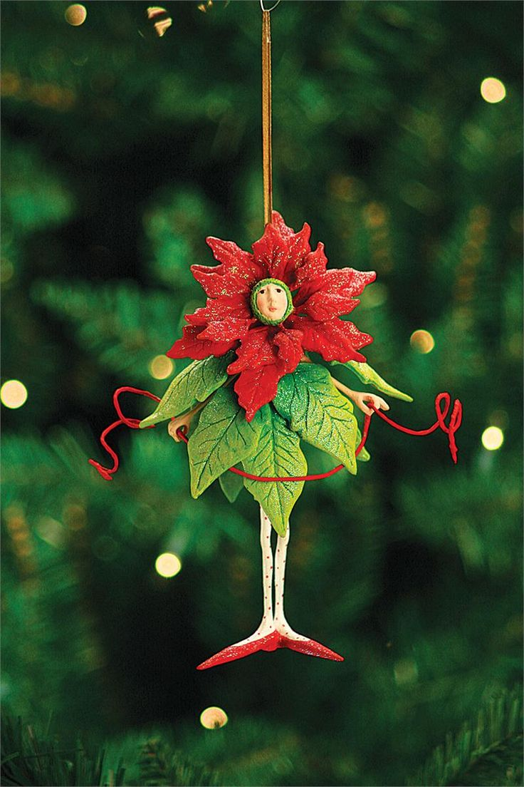 Patience Brewster Poinsettia Girl Fairy Ornament at TheHolidayBarn.com