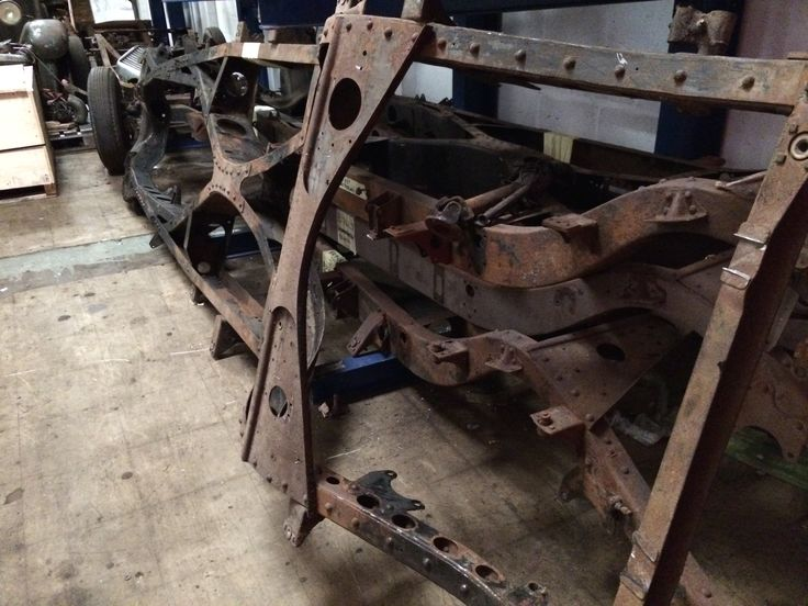 A stripped 70 year old chassis ready for the bead blaster.  So it begins!