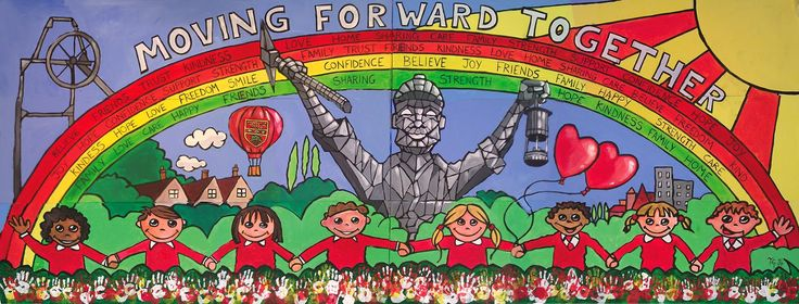 School Mural at Walsall Wood School. All artwork created by Anthony Greentree. Visit www.anthonygreentree.co.uk or https://www.facebook.com/anthonygreentree.artist