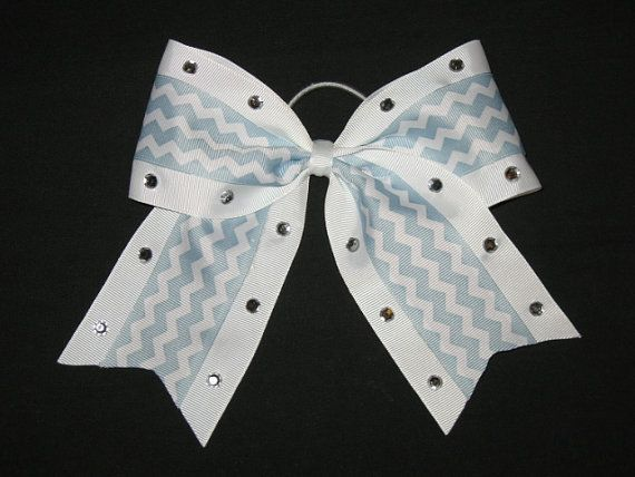 NEW Baby Blue CHEVRON BLING Cheer Bow Pony by BiancasBoutiqueBows