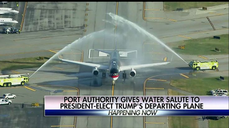 WATCH: Pres-Elect Trump's Plane Gets 'Water Salute' on Way to D.C.