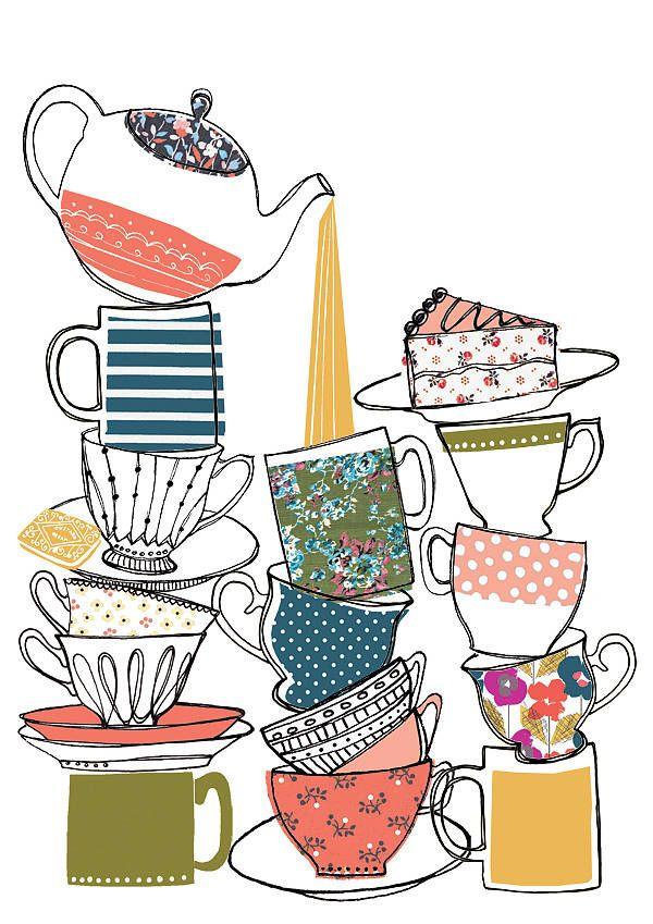 Vintage Style Teacup Print