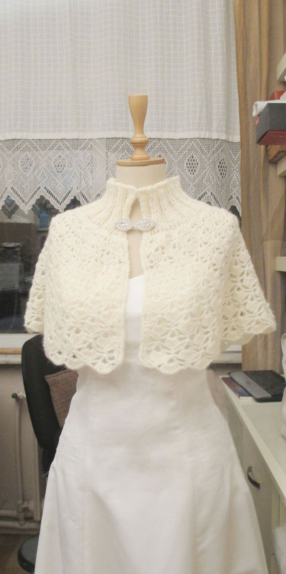 Crochet Ivory Bridal Capelet Shoulder Wrap Wedding Cape Shawl Wrap on Etsy, $80.00