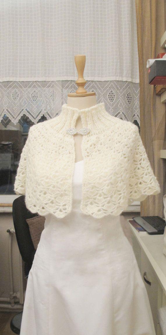 Crochet Ivory Bridal Capelet Shoulder Wrap Wedding Cape Shawl Wrap on Etsy, $80.00