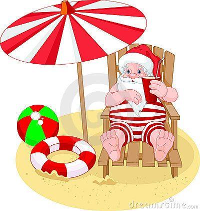 Papai Noel que relaxa na praia