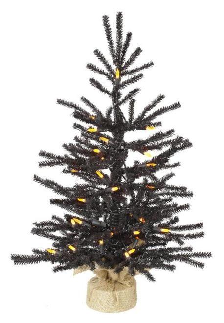 "2' x 15"" Pre-Lit Black Pistol Pine Artificial Christmas Tree in Burlap Base - Orange LED Lights - 31422698"