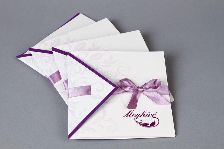 Lila szalagos esküvői meghívó - purple wedding invitations