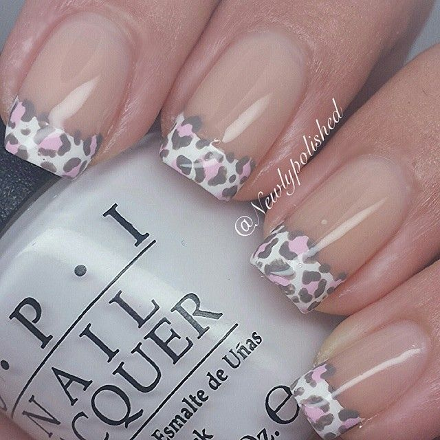 #ShareIG Some pink leopard spots over a french mani @newlypolisheds Instagram Photo.                                                                                                                                                     Más