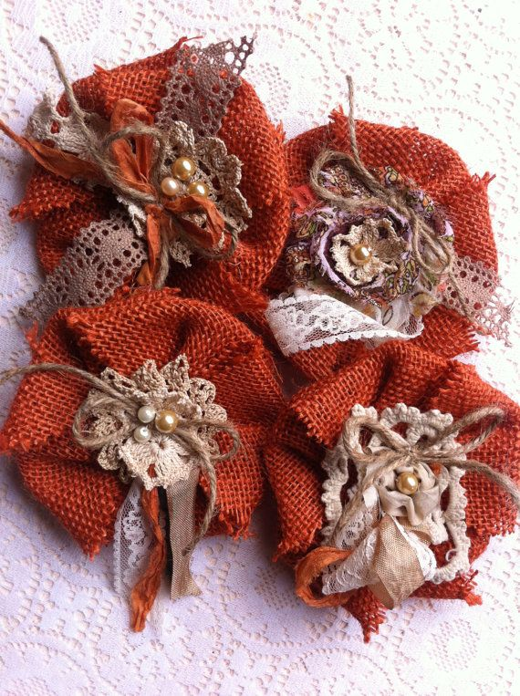 Made to Order/ Set of 4/ Pumpkin Spice Burlap by DolledandDazzled