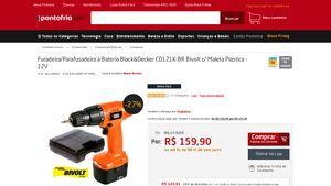 [PontoFrio.com] Furadeira / Parafusadeira à Bateria Black&Decker CD121K - BR Bivolt c / Maleta Plástica - 12V 39333 - de R$ 143,91 por R$…