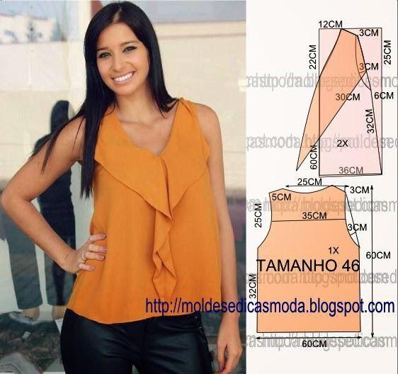 PASSO A PASSO MOLDE DE BLUSA O molde de blusa encontra-se no tamanho 46. Nota: A ilustração do molde blusa não tem valor de costura. Corte dois retângulo d