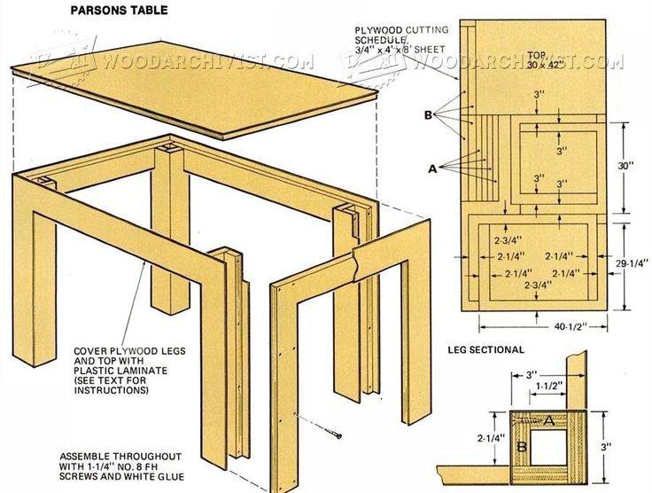 Parsons Table Plans - Furniture Plans and Projects | WoodArchivist.com
