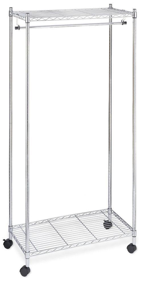 Portable Clothes Rack Garment Storage Rolling Organizer Commercial Hanger  Shelf #Whitmor