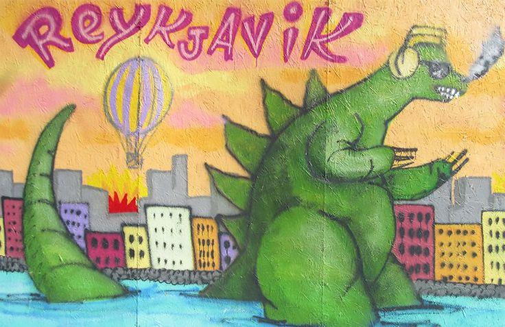 Reykjavik Godzilla mural