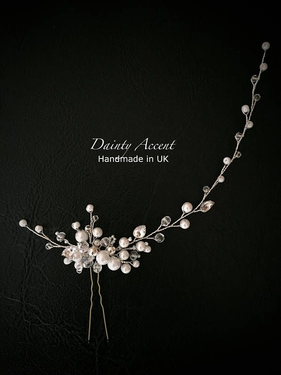 Pearl and Crystal Bridal Hair Pin, Side Headpiece, Bridal Updo Headpiece