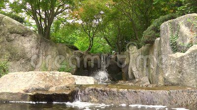 Beautiful Waterfall in Hamburg Park near Japanischer Garten