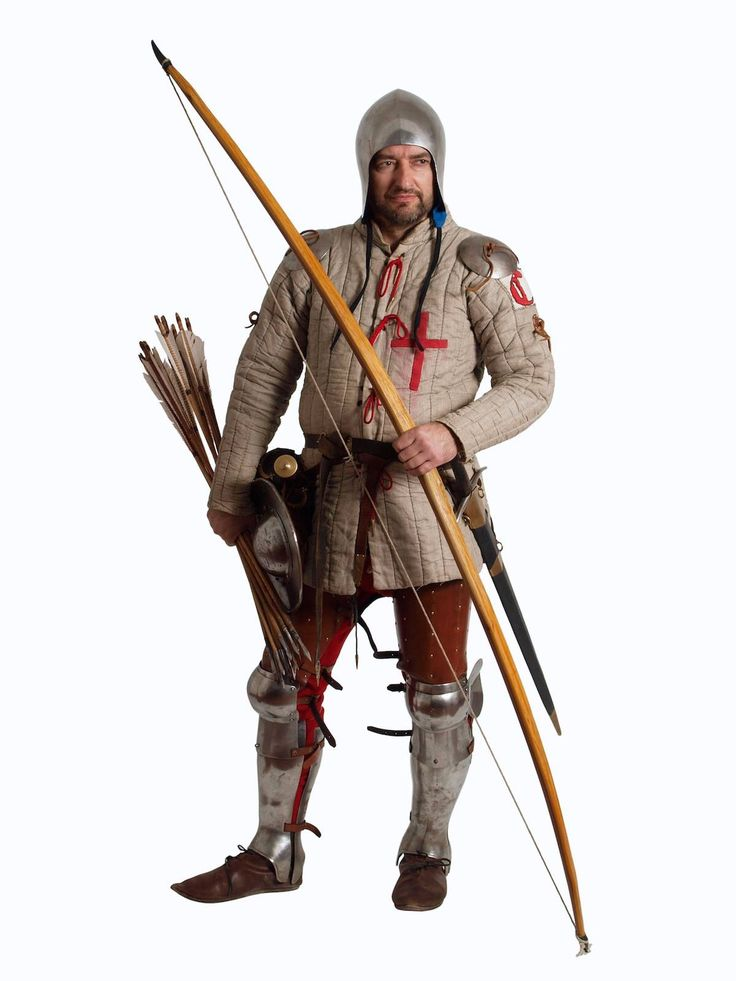 Gut ausgerüsteter Waffenknecht mit Gambeson, Beckenhaube, einfachem Plattenzeug und Langbogen