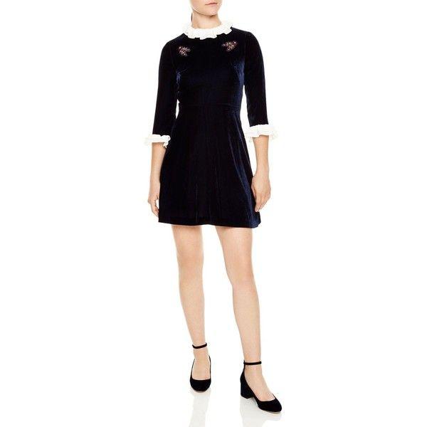 Sandro Kate Velvet Mini Dress (4 175 SEK) ❤ liked on Polyvore featuring dresses, navy blue, mini dress, floral cocktail dresses, velvet mini dress, navy blue dress and navy short dress