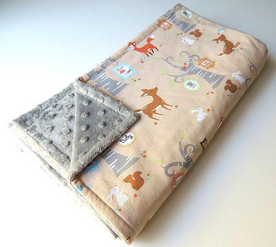 Minky Baby Blanket Gender Neutral - MADE TO ORDER -Woodland Blanket, Baby Blanket, Woods Theme, Fox, Deer- Toddler Blanket - Cot Blanket