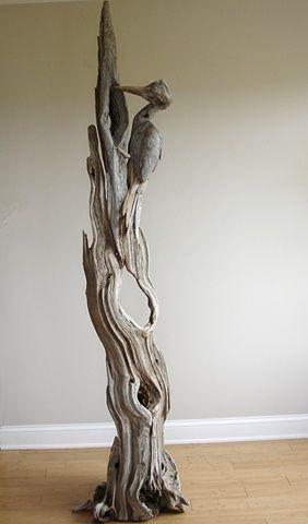 Driftwood Pileated WoodPecker Sculpture  Vincent Richel