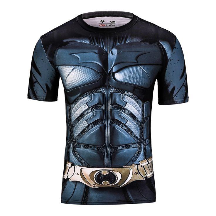 2016 marvel batman compression shirt fitness tights crossfit quick dry short sleeve t shirt Summer Men tee tops clothing [Affiliate]