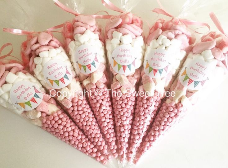 Pretty pink sweet cones party bag alternative  Personalised sweet cone bags