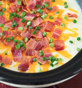 This Slow Cooker Loaded Potato Soup for Six is a slow cooker potato soup recipe that's loaded with flavor! Potatoes, yellow onions, and seasoning come together in perfect harmony with cheese, bacon and green onions.