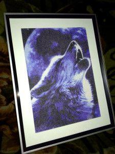 """Мои работы: вышивка на заказ """"Воющий волк"""" (по фото)"""