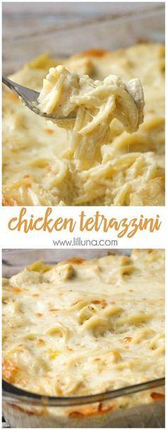 Easy and delicious Cheesy Chicken Tetrazzini - a family favorite dinner meal! { lilluna.com }