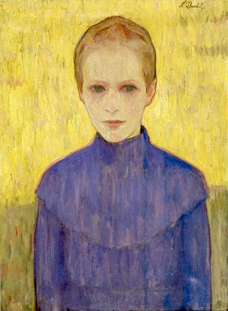 """Nils Dardel (1888 -1943), 1910, """"Flicka i blå klänning"""" (girl in a blue dress)."""